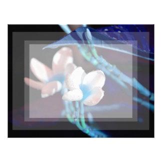 lei flower blue peach colorized letterhead