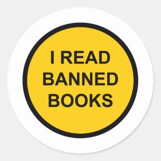 Leí los libros prohibidos pegatina redonda