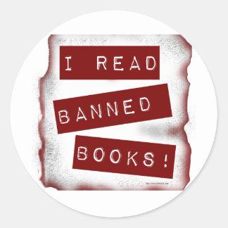 ¡Leí los libros prohibidos! Pegatina Redonda