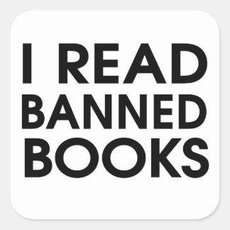 Leí los libros prohibidos pegatina cuadrada
