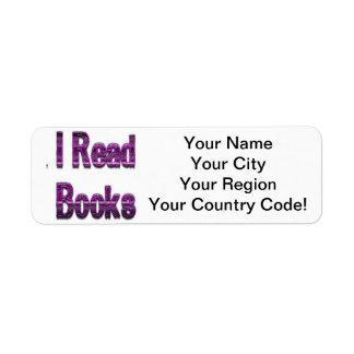 Leí los libros púrpuras etiquetas de remite