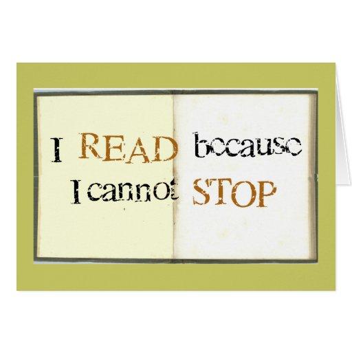 Leí porque no puedo parar felicitaciones
