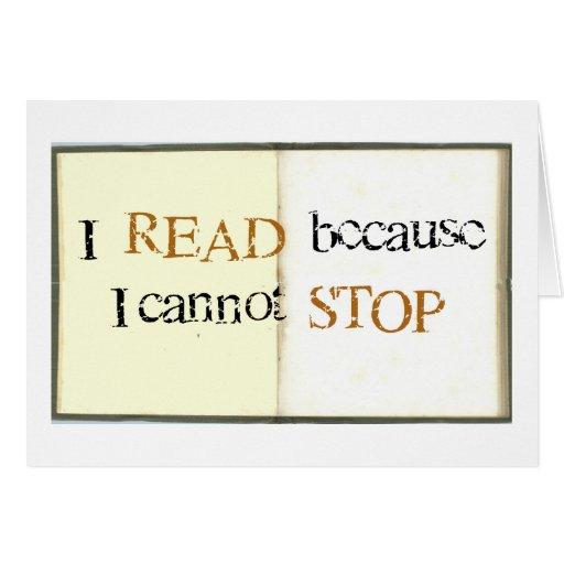 Leí porque no puedo parar tarjetón