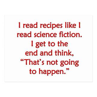 Leí recetas como leí la ciencia ficción… tarjetas postales