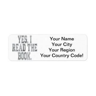Leí sí el gris del libro etiqueta de remite