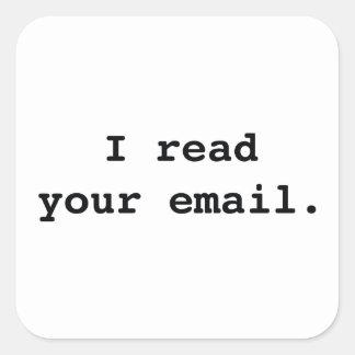 Leí su email pegatinas cuadradas