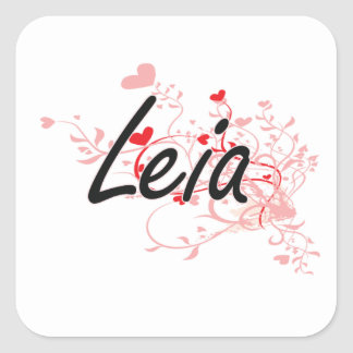 Leia Artistic Name Design with Hearts Square Sticker