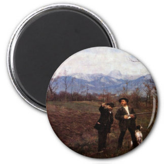 Leibl And Sperl On The Chicken Hunt By Leibl Fridge Magnet