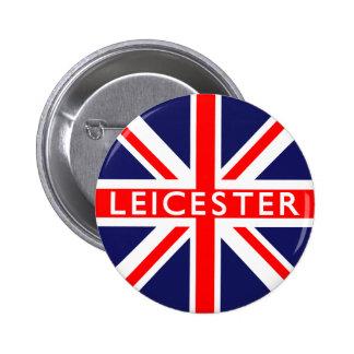 Leicester: Bandera británica Pin Redondo De 2 Pulgadas
