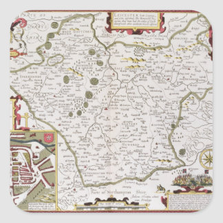 Leicester, engraved by Jodocus Hondius Square Sticker