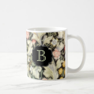 Leicester Floral Pattern with Monogram Coffee Mug