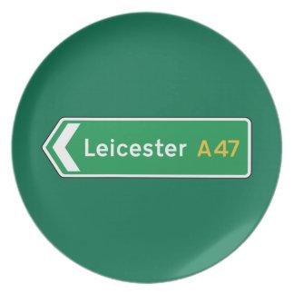 Leicester señal de tráfico BRITÁNICA Plato