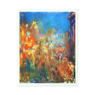Leicester Square at Night Claude Monet fine art Stretched Canvas Print