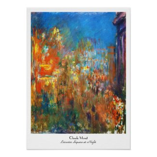 Leicester Square at Night Claude Monet fine art Poster