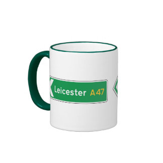 Leicester UK Road Sign Coffee Mugs