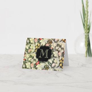 Leicester Vintage Floral Monogrammed Note Card