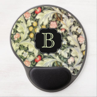 Leicester Vintage Floral with Custom Monogram Gel Mouse Pad