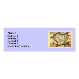 Leicestershire County Map, England Double-Sided Mini Business Cards (Pack Of 20)