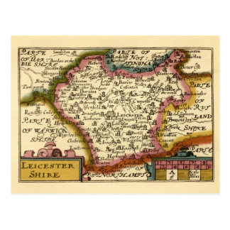 Leicestershire County Map, England Postcard