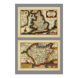 Leicestershire County Map, England Poster