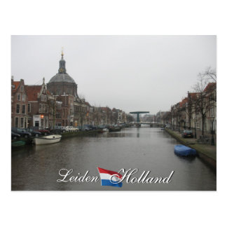 Leiden Canal and Church Cityscape Holland Postcard