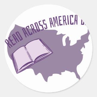 Leído a través de América Pegatina Redonda