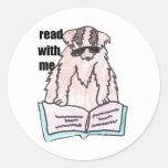 leído conmigo el perro etiqueta redonda