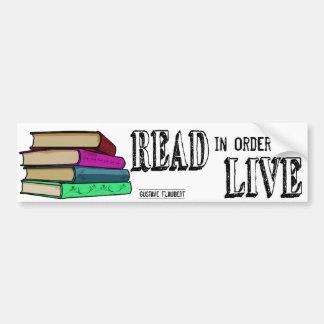 Leído para vivir para los aficionados a los libros pegatina para auto