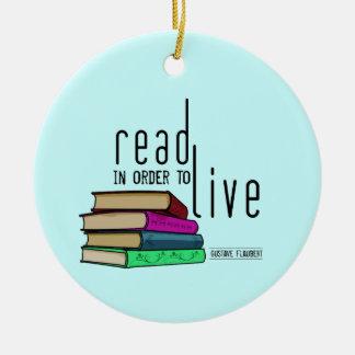 Leído para vivir para los aficionados a los libros adorno redondo de cerámica