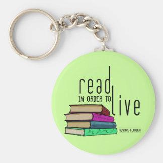 Leído para vivir para los aficionados a los libros llavero redondo tipo pin