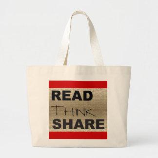 Leído piense la parte bolsa tela grande
