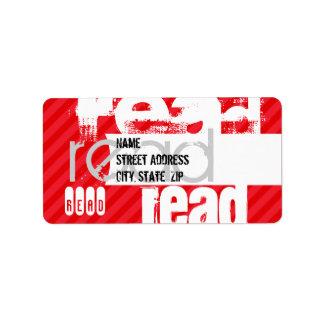 Leído; Rayas del rojo del escarlata Etiquetas De Dirección