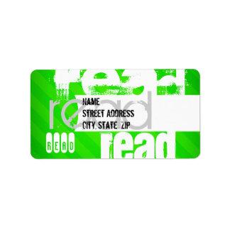 Leído; Rayas verdes de neón Etiquetas De Dirección