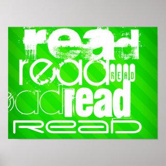 Leído; Rayas verdes de neón Póster