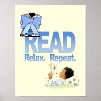 Leído, relaje y repita el poster de la instrucción