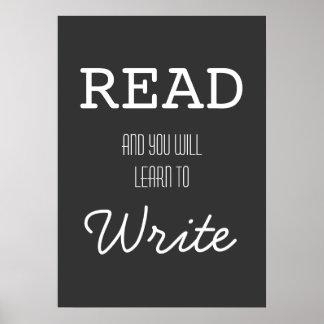 Leído y usted aprenderá escribir el poster