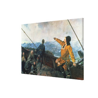 Leif Eriksson  sights land in America, 1893 Canvas Print