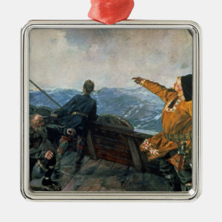 Leif Eriksson  sights land in America, 1893 Metal Ornament