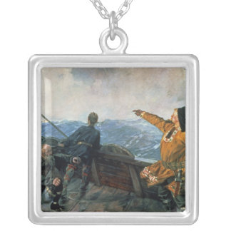 Leif Eriksson  sights land in America, 1893 Silver Plated Necklace