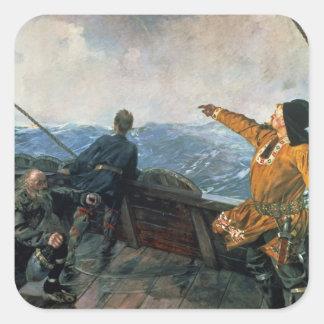 Leif Eriksson ve la tierra en América, 1893 Pegatina Cuadrada