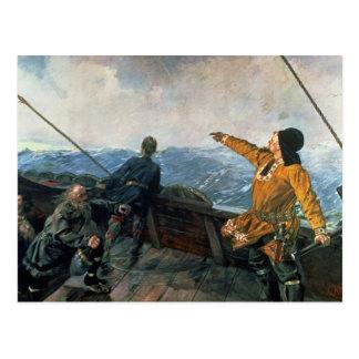 Leif Eriksson ve la tierra en América, 1893 Postales