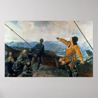 Leif Eriksson ve la tierra en América, 1893 Póster