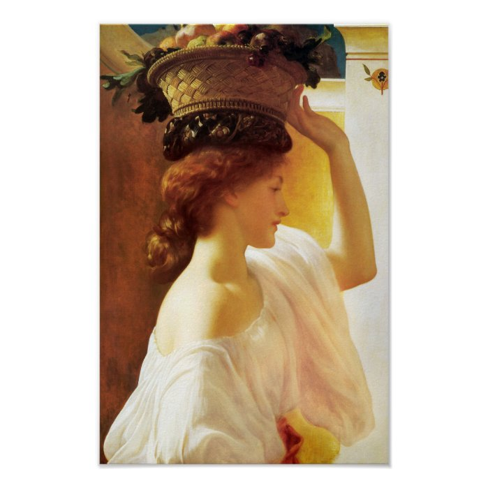 Leighton Girl with a basket fruit CC0673 Cardstock Poster