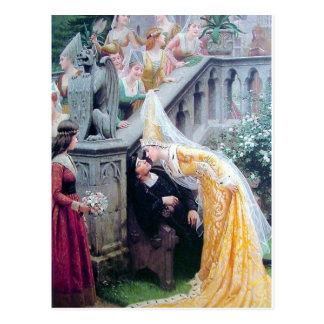 leighton the kiss medieval woman kissing man postcard