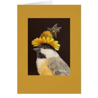 Leila el chickadee con el gorra de la abeja y de l tarjeta de felicitación