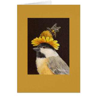 Leila the chickadee with bee and flower hat greeting card