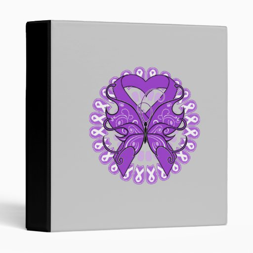 Leiomyosarcoma Cancer Butterfly Heart Ribbon 3 Ring Binder