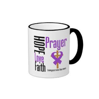 Leiomyosarcoma Hope Love Faith Prayer Cross Ringer Coffee Mug