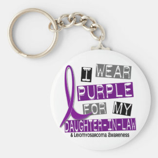 LEIOMYOSARCOMA I Wear Purple For My Daughter-In-La Basic Round Button Keychain