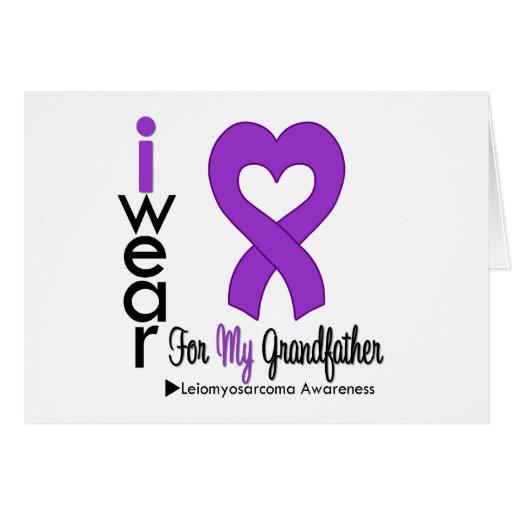 Leiomyosarcoma I Wear Purple Ribbon GRANDFATHER Greeting Card